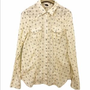 We The Free Printed Shirt Lace Up Back Button Top